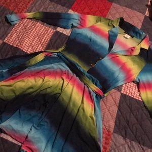 multicolored Flirty dress. Fits size 12-14 (L)